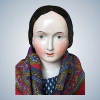 Beautiful Early Braided Bun China Doll 1840th