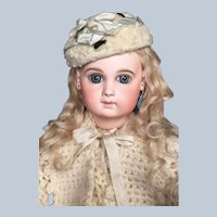 French Antique Rare Early EJ Bebe on Wooden Articulated Body