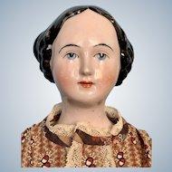 Antique German Bun China Lady c. 1840