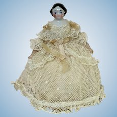 Antique Covered Wagon China Head Doll Only 5 inch Tall