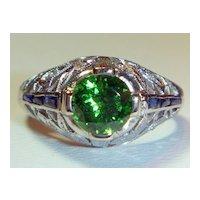 Stunning 1.26 Ct. Tsavorite Garnet, Diamond, Sapphire Plat Ring