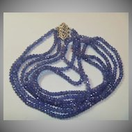 Vintage Tanzanite Necklace 14K White Gold