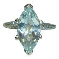 Natural 3.15 Ct. Marquise Aquamarine 14K White Gold Ring