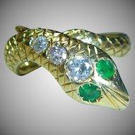 Snake Ring Emerald, Diamond 18K Mid-Century