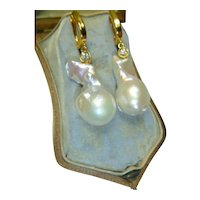 Vintage Cultured Baroque Pearl & Diamond 14K Gold Earrings