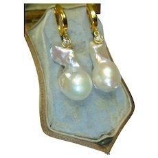 Vintage Cultured Baroque Pearl & Diamond 14K Gold Earrings