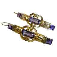 Antique Victorian Amethyst & 14 K Gold Pendant Earrings