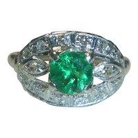 Art Deco .60 Ct. Emerald Diamond Platinum Ring