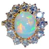 Gorgeous 2.10 Ct. Opal & 1.50 Ct. Diamond 18K Ring