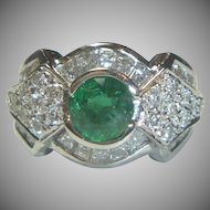 Lovely Emerald, Diamond 14K Ring