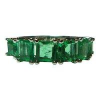 Emerald Six Stone 3 Ct Half Hoop 14K Ring