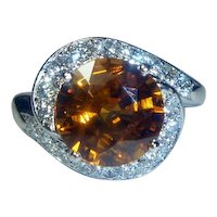 Brilliant 4.35 Ct. Orange Sapphire, Platinum & Diamond Art Deco Ring