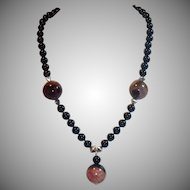 Onyx, Huge Agate & Silver Necklace