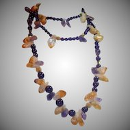 "Citrine, Amethyst, Ametrine Quartz Crystal 56"" L Necklace"