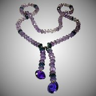 Regal Purple Amethyst and Blue Topaz Necklace