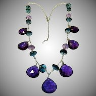 Amethyst & Blue Topaz 14K Gold Necklace
