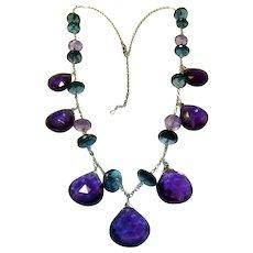Amethyst & Blue Topaz 14K Gold Necklace