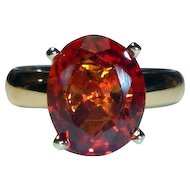 Orange Sapphire 4.05 ct. Bi-color 14K Ring