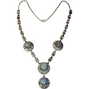 Gorgeous Labradorite, Crystal and Sterling Silver Necklace