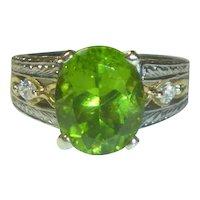 Vintage 4.60 Ct. Peridot, Diamond, Platinum and 18K Ring