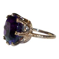 Grand 15 Ct. Cushion-cut Colossal Amethyst 14K Rose Gold Ring