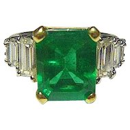 Emerald 4.05 Ct., 2.20 Ct. Diamond, Platinum & 18K Ring