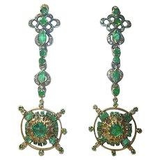 Victorian Emerald and Diamond Earrings