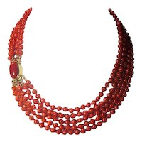 Five Strand Red Coral Italian14K Necklace