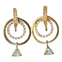 Vintage 1.56 Ct. Diamond Hoop 14K Gold Earrings