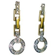 Vintage 1.06 Ct. Diamond & 18K  Earrings