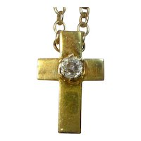Antique Mine Cut 1 Ct Diamond 18 K Italian Cross