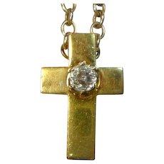 Antique Mine Cut 1 Ct Diamond 18 K Italian Cross
