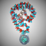 Natural Coral, Turquoise, Sterling Navajo Necklace