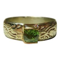 Arts&Crafts .90 Ct. Demantoid Garnet 14K Ring