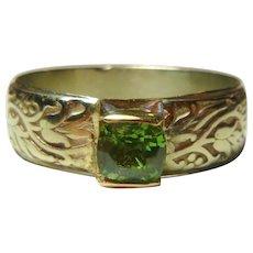 Arts&Crafts .90 Ct. Demantoid Garnet 14K Ring