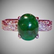 Estate 2.50 Ct. Emerald Cabochon .50 ct. Diamond  Platinum Ring