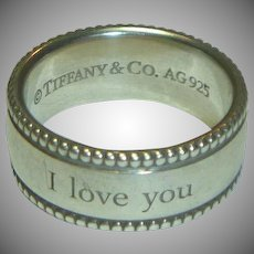 Vintage Tiffany & Co. Sterling I LOVE YOU Ring