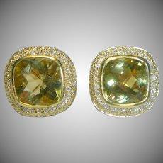 Vintage 18K Gold  Citrine & Diamond Earrings