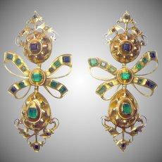 Antique Spanish (1760) Georgian Emerald 18K Gold Earrings