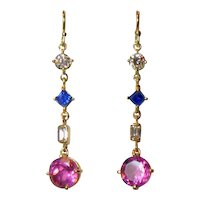 Pink Obsidian, Sapphire & Diamond 14K Gold Pendant Earrings