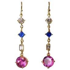 Pink Obsidian, Sapphire & Diamond 14K Gold Pendant Earrings