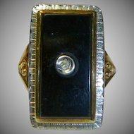 Retro Onyx and Diamond Gold Ring