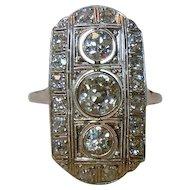 Art Deco 2.55 Ct. Three Stone Diamond 18K White Gold Ring