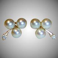 Classic Pearl, Diamond, 14 K Gold Earrings