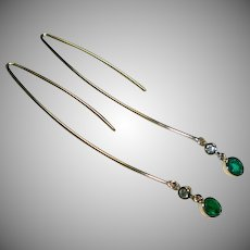 Emerald, Diamond & 14 Gold Earrings
