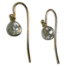 Mine Cut 1 Ct.  Diamond Gold  Earrings