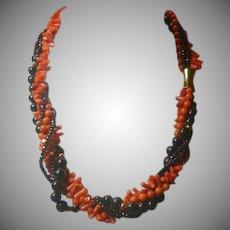 Vintage Red and Black Coral & Spinel Torsade