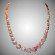 Estate Natural Angel Skin Graduated Coral Necklace