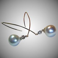 Sleek Cultured South Sea Pearl & Diamond Earrings