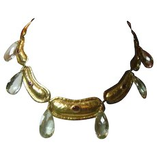 Italian 18K Gold Ruby and Prasiolite Necklace